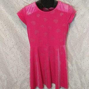 CHILDREN'S PLACE Pink Heart Velour Skater Dress 16